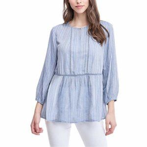 Fever Blue & White Stripe Flowy Top